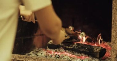 Family roasting marshmallows — Stock Video