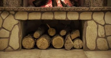 Warm cozy fireplace — Stock Video