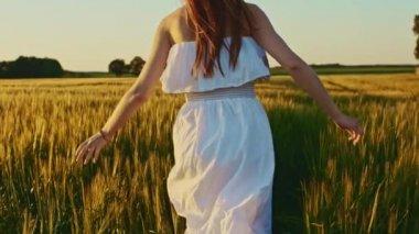 Girl running on wheat field — Stock Video