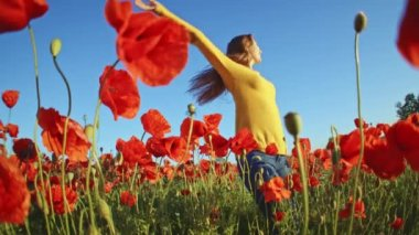 Girl having fun in poppies field — Stock Video