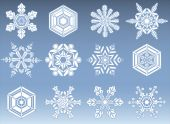 Snowflake Silhouette Icons — Stock Vector