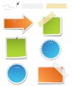 Colorful Labels with Staples and Tape — Stock Vector
