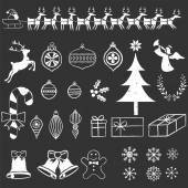Chalkboard Christmas Elements — Stock Vector