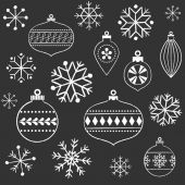 Chalkboard Snowflakes and Ornaments — Stock Vector
