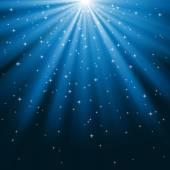 Blue Rays of Light and Stars — 图库矢量图片