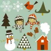 Winter Elements Set — Stock Vector