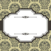 Vintage Frame on Damask Background — Stock Vector