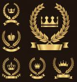 Gold Heraldry Emblems — Vector de stock