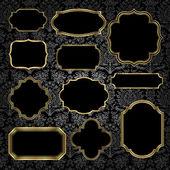 Gold Vintage Frames on Damask Background — Stock Vector