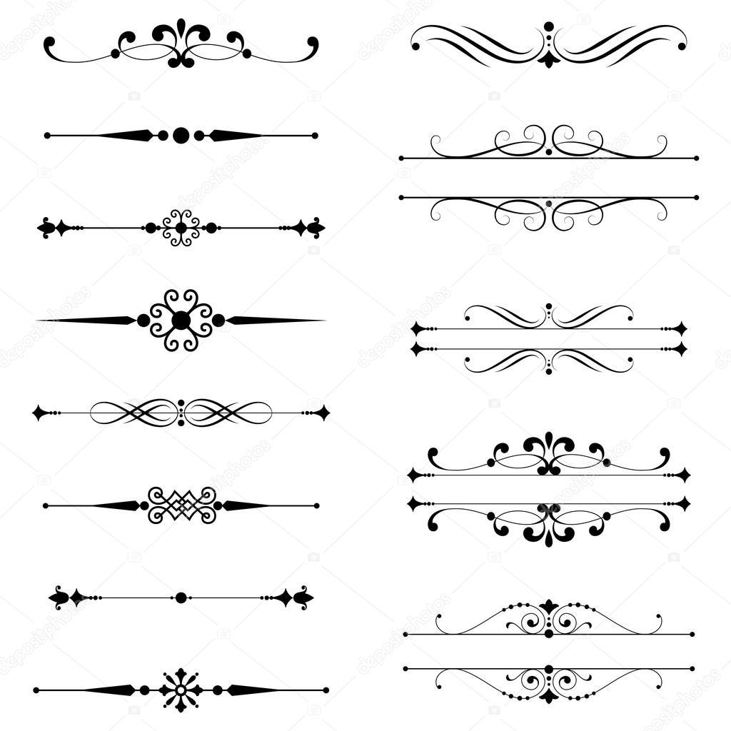 Single Line Text Art : Типографские украшения правило линии — Векторное