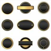 Black and Gold Emblems — Stock Vector