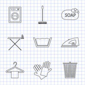 Laundry and cleaning icons — Stock Vector