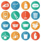 Praní a čištění ikony — Stock vektor