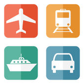 Vector illustration of transport related icons — Stock Vector