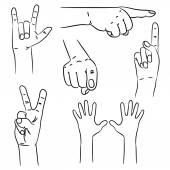 Hands in different interpretations. Vector illustration. — Stock Vector