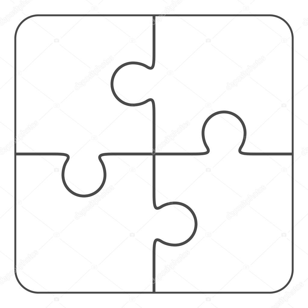 拼图游戏矢量,空白简单模板 2 x 2,四块– 图库插图