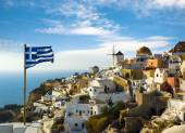 Windmills of Oia village at late evening, Santorini — Stock Photo