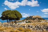 Town of Lindos and Acropolis on the island of Rhodes — Stock Photo