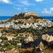 Town of Lindos and Acropolis on the island of Rhodes — Stock Photo #65044897