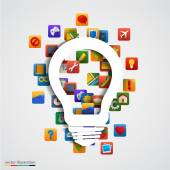 Modern creative light bulb with application icon. — Stock Vector