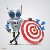 Robot plays darts. Vector — Stockvektor