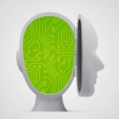 Circuit board inside head. Technology. — Stock Vector