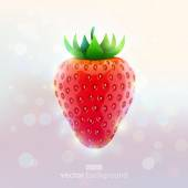 Realistic strawberry on absract light background. — Stock Vector