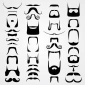 Vector set of whiskers — Stock Vector