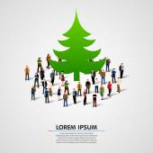 Group of people around christmas tree. — Stock Vector