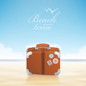 Luggage with traveling stickers at sunny beach. — Stock Vector