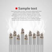 Smoldering cigarette with a smoke. Vector — Stock Vector