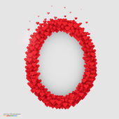 Oval photo frame made of many hearts — Vecteur