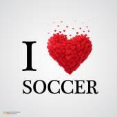 I love soccer heart sign. — Stock Vector