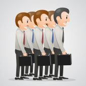 Office men with suitcases — Stock Vector