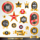 Set of gold labels — Stock Vector