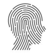Symbol fingerprint head — Stock Vector