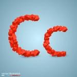 Cubes as a symbol font. C — Stock Vector #64255265
