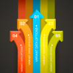 Rainbow arrows directed all — Stock Vector #64297641
