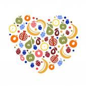 Fruity heart — Stock Vector