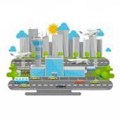 Processes airport flat city — Stock Vector