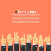 Group of hands in the top — Stock Vector