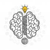 Silhouette of the brain on a white background — Stock Vector