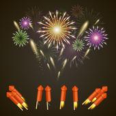 Firework rocket set art cover — Stock Vector
