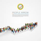 Large group people shape arrow — Stock Vector