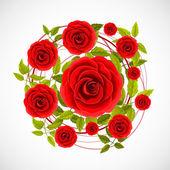 Flower rose label — Vector de stock