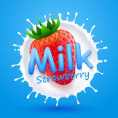 Label milk strawberry — Stock Vector