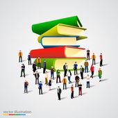 Dav lidí kolem knihy zásobníku — Stock vektor
