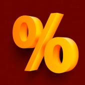 Golden percent sign on red background — Stock Vector