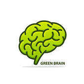 Silhouette of the brain green — Stock Vector