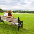 Adult couple on the bench — Stock Photo #56906387